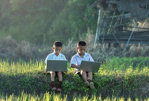 Children, Study Of, Laptop, Vietnamese, Thailand, Enjoy
