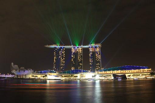 Marina Bay Sands, Lights, Singapore, Laser, Design