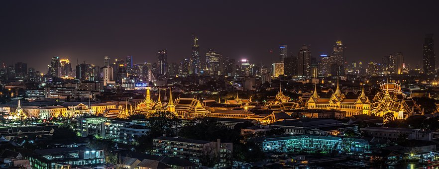 Grand Palace, Bangkok, Temple, Night, Wat Phra Kaew