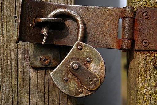 Castle, Padlock, Metal, Stainless, Wooden Door, Closed