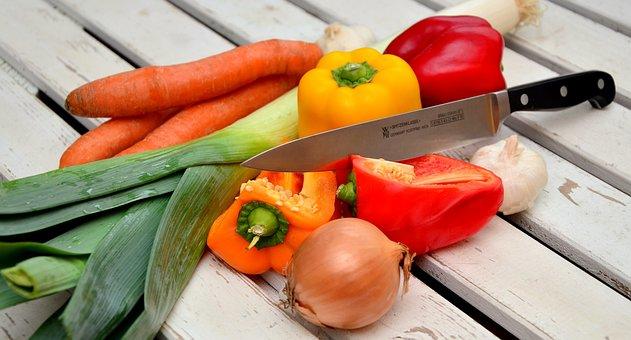 Vegetables, Knife, Paprika, Traffic Light Vegetable