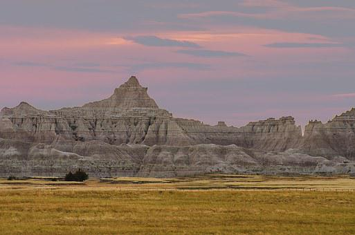 Rock Formations, Badlands, Sunset, Pink Sky, Nature