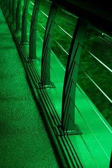 Bridge, Dark, Lighting, Green, Street, Railing