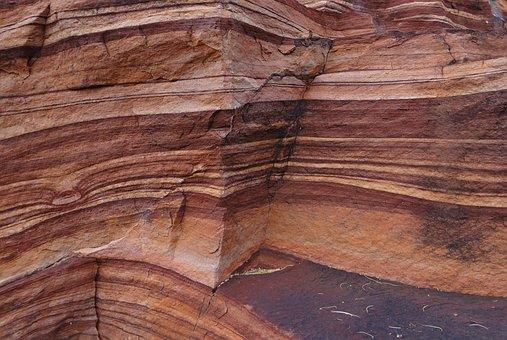 Red Sandstone, Layered, Eroded, Rocks, Geology, Badami