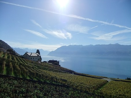 Lake Geneva, Switzerland, Evening Light, Alpine Lake