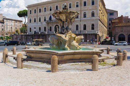 Tritons Fountain, Fountain, Sculpture, Piazza Barberini