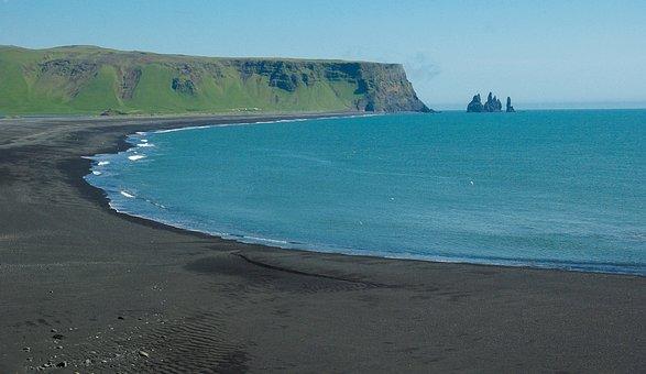 Iceland, Vik, Beach, Black Sand, Cliffs