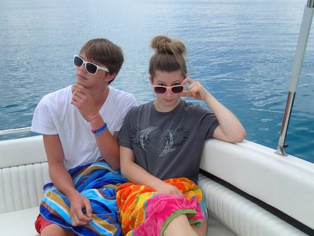 Friends, Boating, Boat, Lake, Blue, Water, Summer