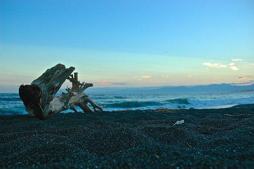 Sea, Japan, Asia, Wood, Beach, Stones, Water, Evening