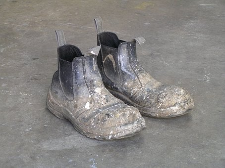 Boots, Shoes, Work, Concrete, Dirty, Workwear, Labourer