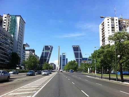 Madrid, Castellana, Walk, Traffic, Torres