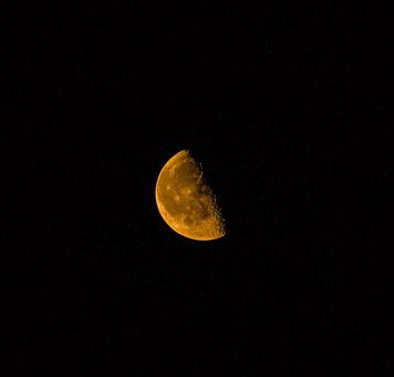 Orange Moon, Craters, Night, Sky, Astronomy, Nature