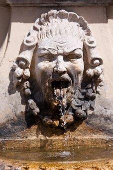 Fountain, Water, Water Feature, Gargoyle, Mediterranean