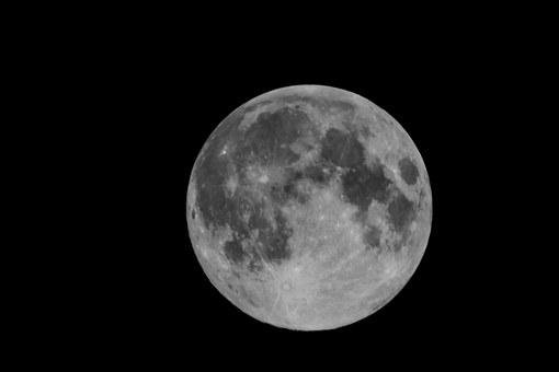 Moon, Craters, Night, Space, Astronomy, Sky, Full
