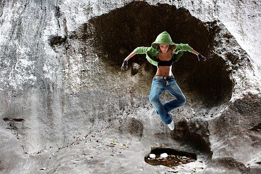 Jump, Cave, Pike Jump, Fun, Person, Hop, Girl, Hoodie