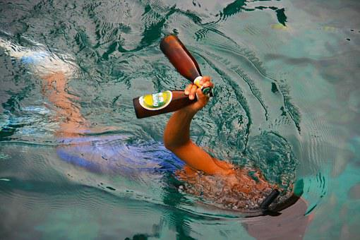 Beer, Swimming, Ocean, Sea, Bottles, Alcohol, Vacation