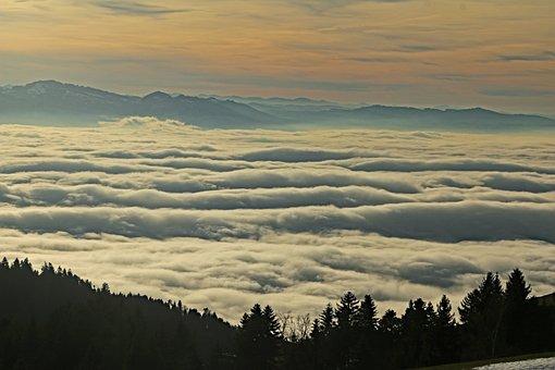 Sunset, Alpine, Winter, Romantic, Switzerland, Austria