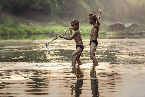 Fishing, As Children, The Activity, Asia, Boys