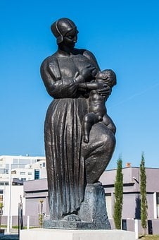 Breastfeeding, Statue, Sculpture, Togetherness