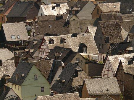 City, Town Centre, Homes, Schieferdaecher, Community