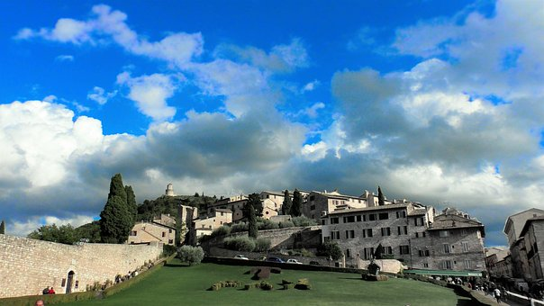 Italy, Assisi, Architecture, Church, Catholic, Sky