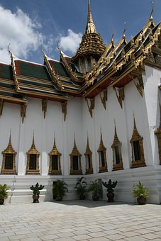 Temple, Gold, Thailand, Architecture, Sky, Clouds