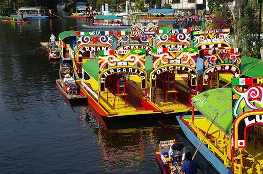 Mexico, Lake, Xochimilco, Boats, Navigation, Tavern