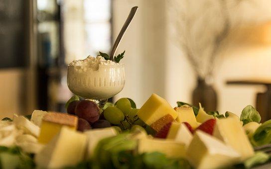 Buffet, Brunch, Breakfast, Cheese, Fruit, Cream, Glass