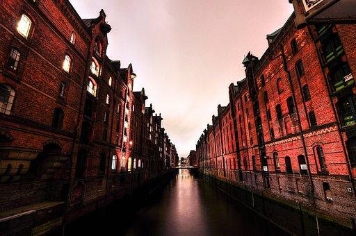 Hamburg, Canal, Passage, River, Water, City, Warehouse