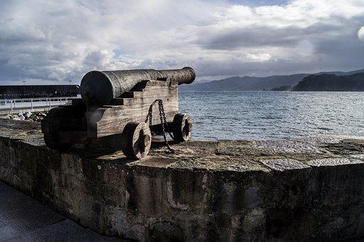 Canon, Asturias, Sea, Shore, Defense, Weapons, Shoot