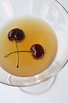 Cherry, Drink, Martini, Cocktail, Bubbles