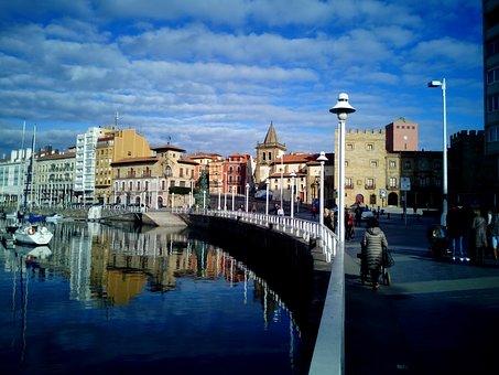 Gijón, Asturias, Spain, Beach, Costa, Sea, Sky, Clouds
