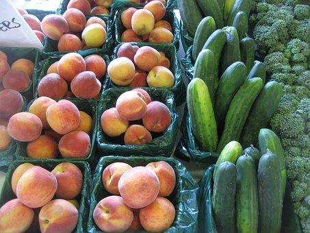 Farming, Produce, Peaches, Farmer's Market, Cucumbers