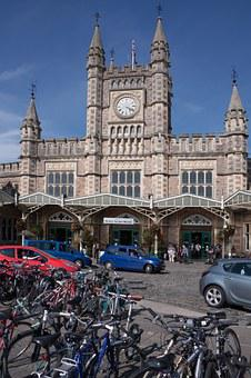 Railway Station, Taxi, Bicycles, Forecourt, Clock