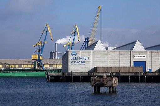 Baltic Sea, Wismar, Seaport, Hanseatic City, Cranes