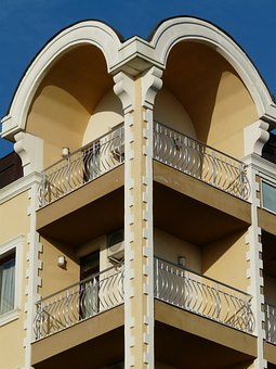 Balcony, Home, Building, Architecture, Grid, Round Arch