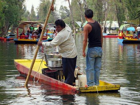 Mexico, Xochimilco, Lanchas, Pier, Boat