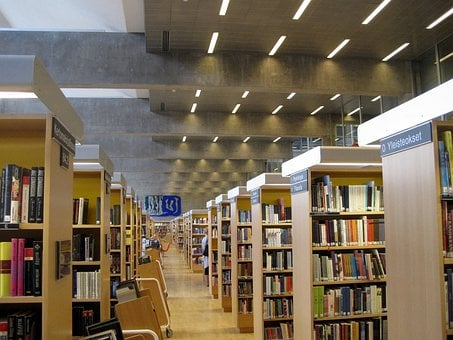 Library, Books, Selections, Inside, Indoor, Building