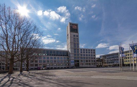 Town Hall, Stuttgart, New, Sun, Back Light, Marketplace