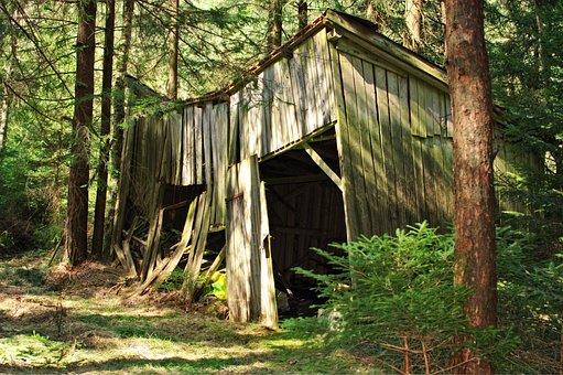 Hut, Log Cabin, Barn, Vacation, Wood, Nature, Old