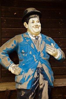 Statue, Man, Oliver Hardy, Hollywood, Walt Disney