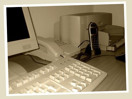 Past, Old, Computer, Printer, Phone, Office, Photo