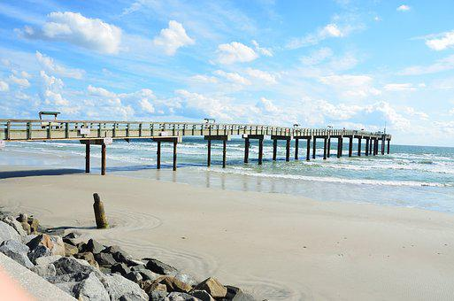 St Augustine Beach, Florida, Fishing, Pier, Beach