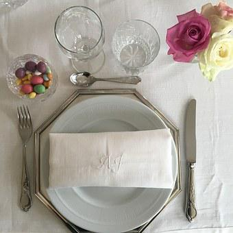 Table, Flowers, Pink, Plates, Glasses, Easter, Meals