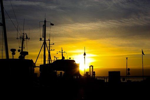 Port, Sunset, Sea, Fischer, Baltic Sea