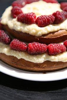 Raspberry, Cake, Baking, Sweet, Custard, Dessert
