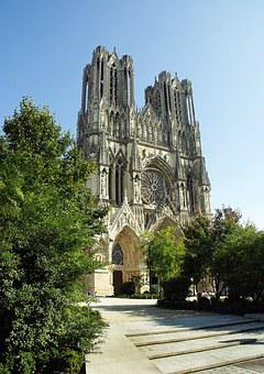 Reims, Cathedral, Parvis, Tours, Gothic, Architecture