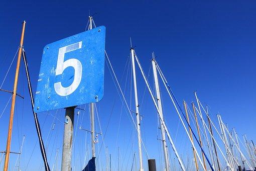 Blue, Five, Masts, 5, Sailing Boats, Kiel, Shield, Port