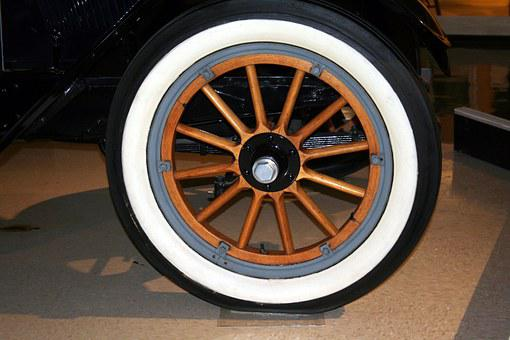 Wheel, Spokes, Whitewall, Tire, Vintage, Antique, Wood