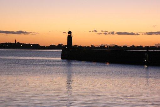 Bremerhaven, Lighthouse, Sunset